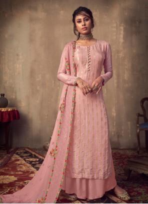 Viscose Pink Designer Palazzo Salwar Suit