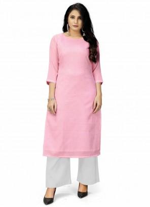 Viscose Plain Designer Kurti in Pink