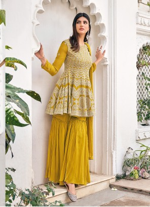 Mustard Viscose Embroidered Readymade Suit