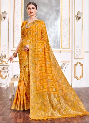 Viscose Weaving Yellow Trendy Saree