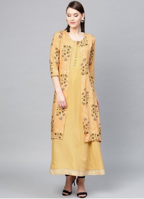 Viscose Yellow Print Party Wear Kurti