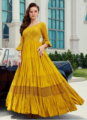 Viscose Yellow Readymade Gown