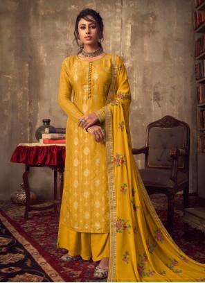 Viscose Zari Yellow Designer Palazzo Suit