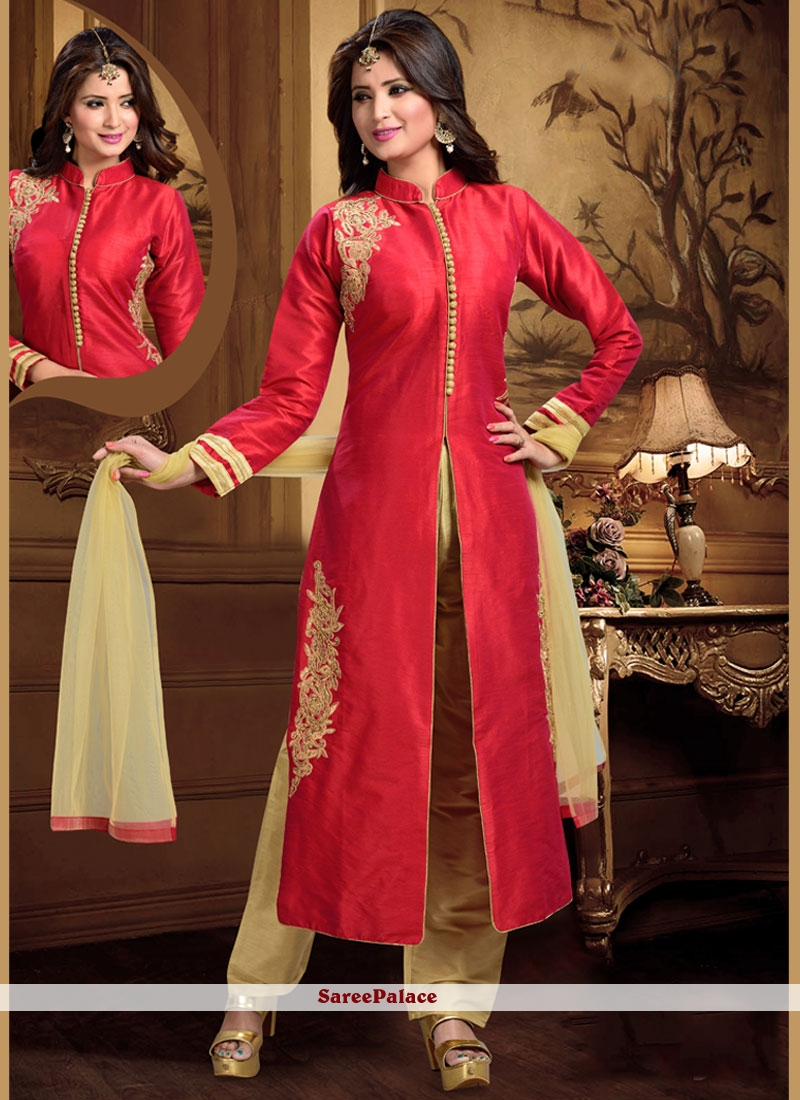 Vivacious Embroidered Work Red Readymade Suit