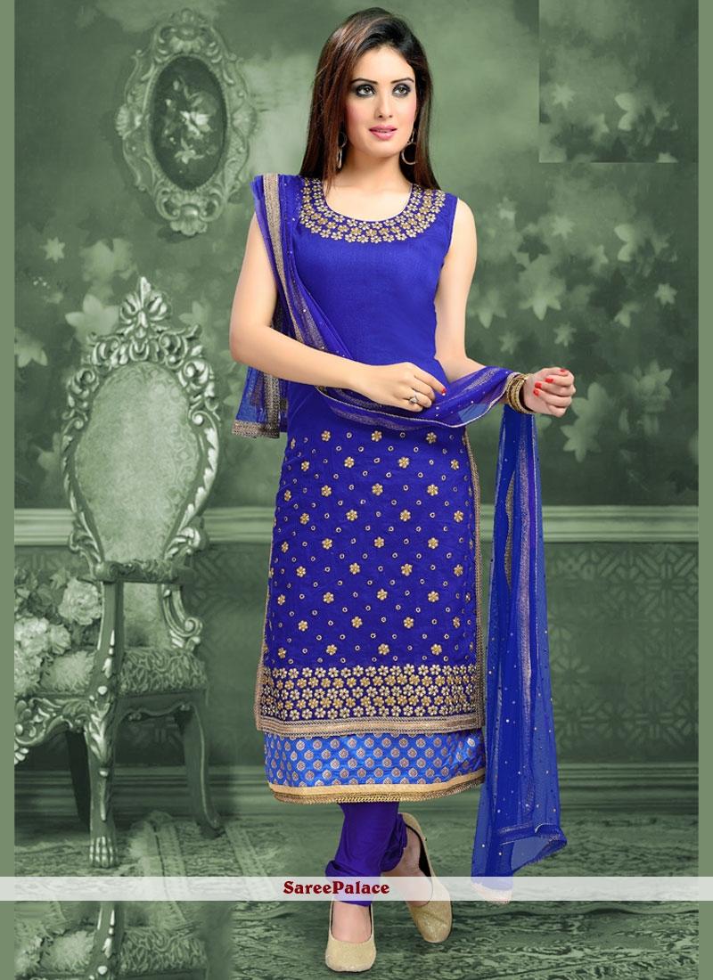 Vivacious Lace Work Blue Cotton   Readymade Suit
