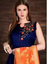 Vivacious Navy Blue Embroidered Work Silk Anarkali Salwar Kameez