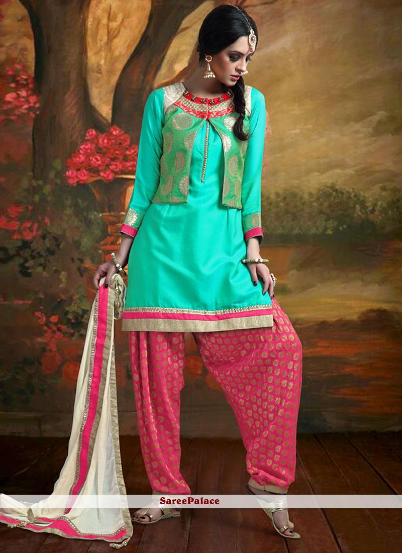Vivacious Patch Border Work Banarasi Silk Readymade Suit