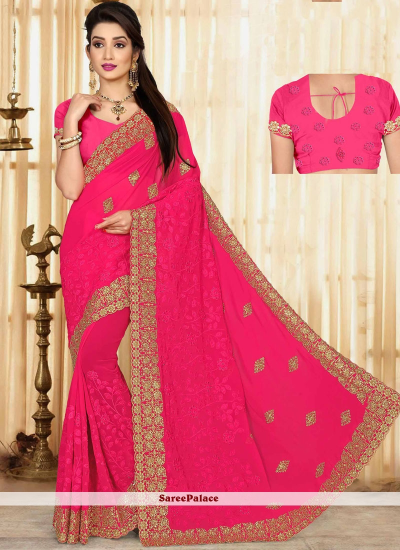 Vivid Embroidered Work Hot Pink Classic Saree