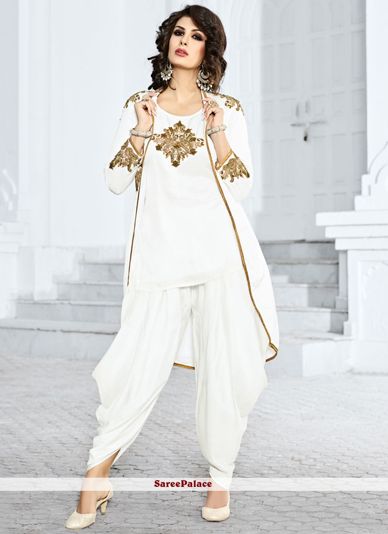 Vivid Embroidered Work White Jacket Style Salwar Suit