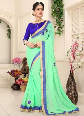 Vivid Faux Georgette Embroidered Work Classic Designer Saree