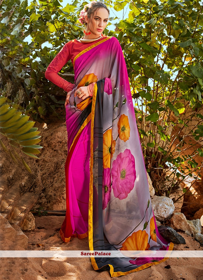 Vivid Multi Colour Printed Saree