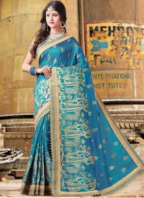 Voguish Art Silk Thread Work Designer Traditional Saree