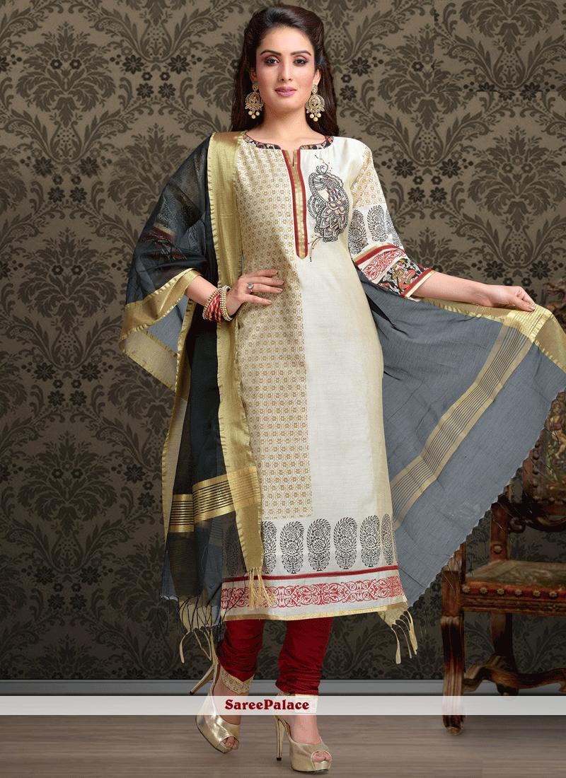 afb03a3a51 Buy Voguish Chanderi Block Print Work Churidar Designer Suit Online