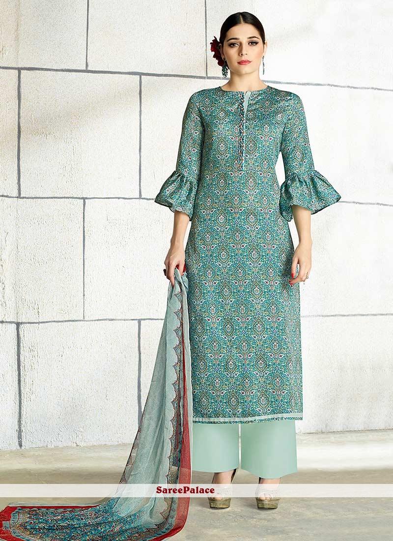 Voguish Cotton Embroidered Work Designer Palazzo Salwar Suit