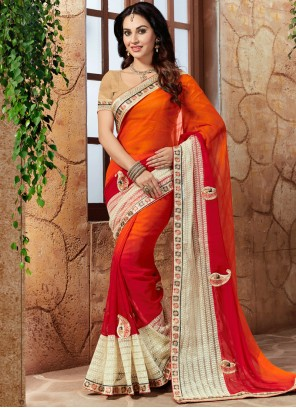 Voluptuous Faux Georgette Lace Work Shaded Saree