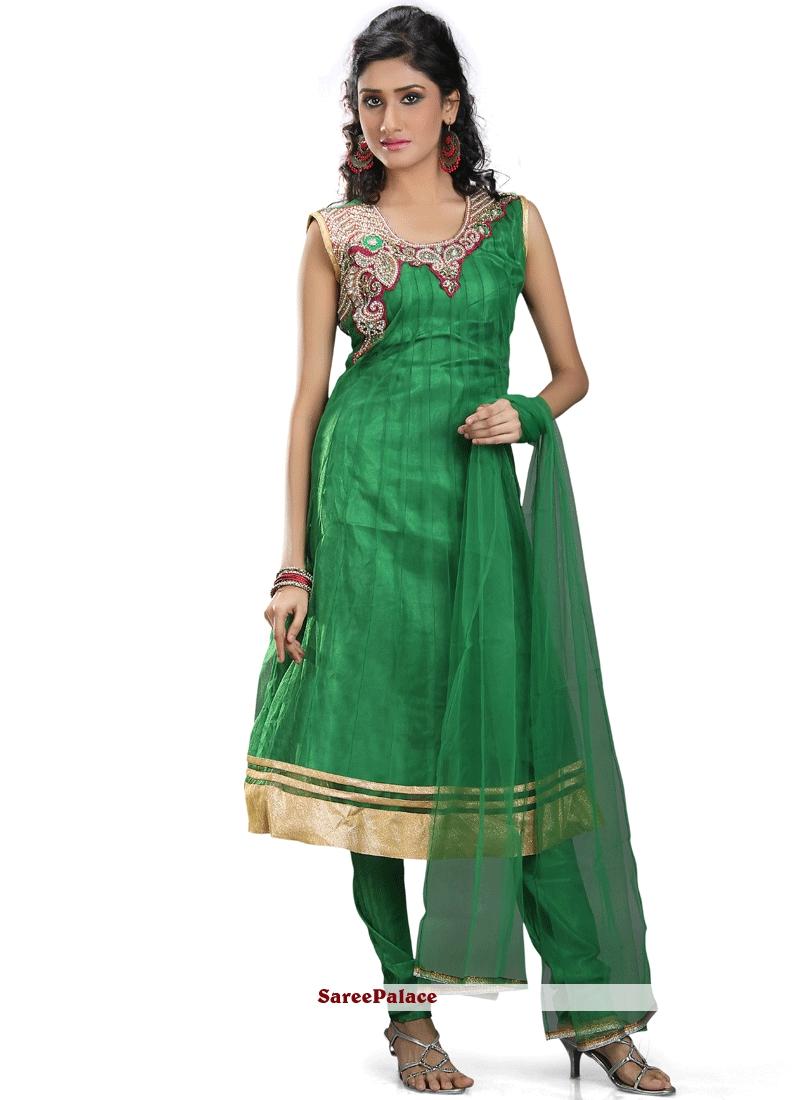 8fc6b666a7 Buy Voluptuous Lace Work Green Net Readymade Anarkali Suit Online