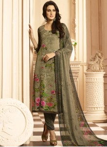 Voluptuous Multi Colour Print Work Faux Crepe Designer Suit