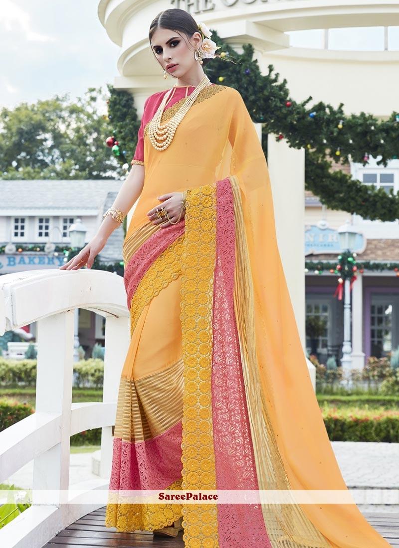 Voluptuous Net Yellow Designer Saree