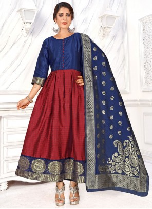Maroon Weaving Anarkali Salwar Suit
