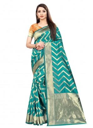 Weaving Aqua Blue Art Silk Bollywood Saree