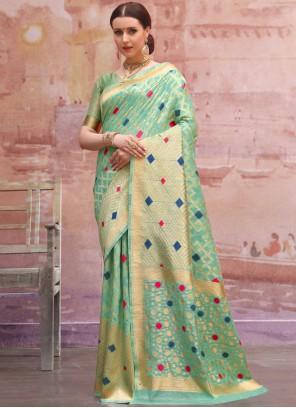 Weaving Aqua Blue Traditional Designer Saree