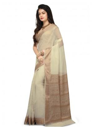 Weaving Art Banarasi Silk Beige Designer Traditional Saree