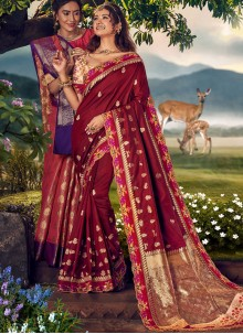 Weaving Art Banarasi Silk Designer Traditional Saree