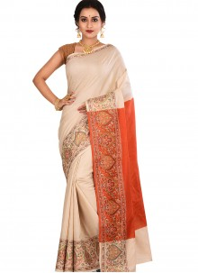 Weaving Art Banarasi Silk Designer Traditional Saree in Cream