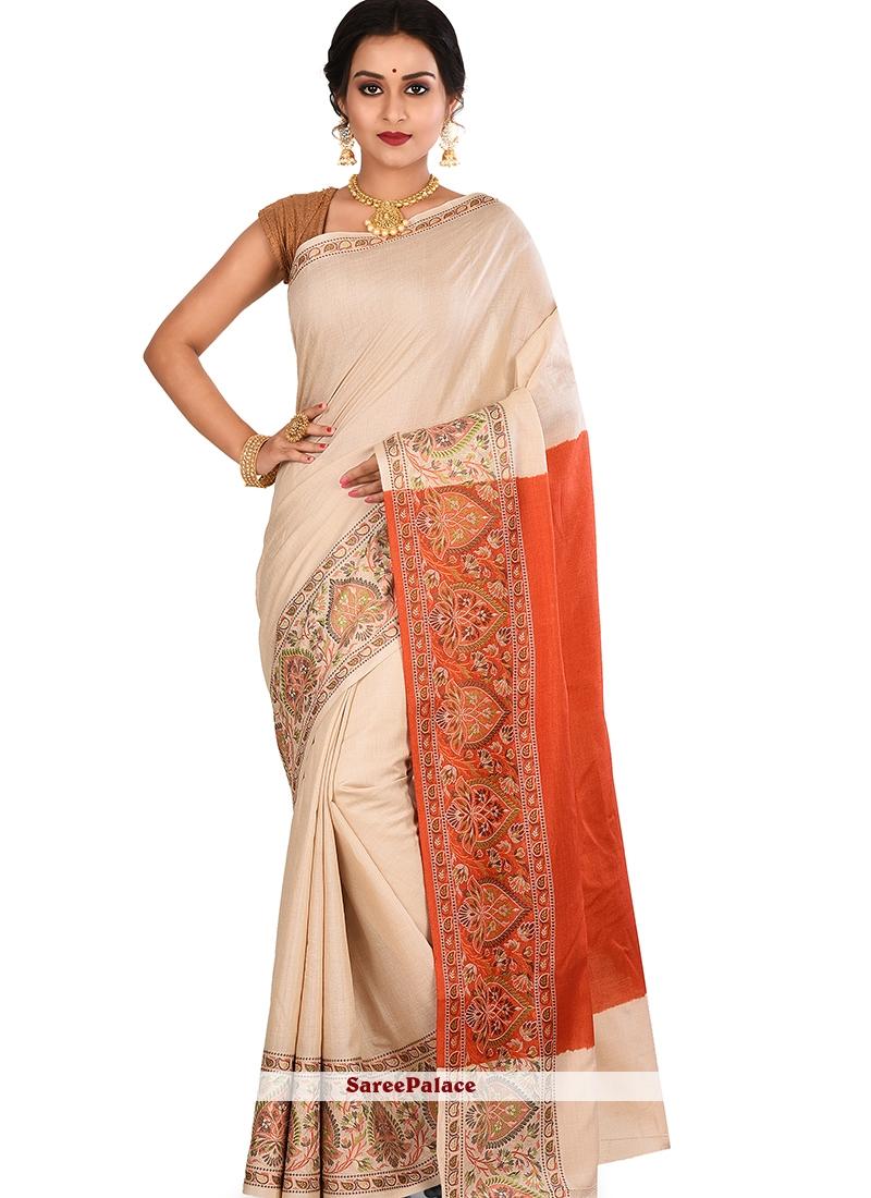 Weaving Art Banarasi Silk Designer Traditional Saree in Cream