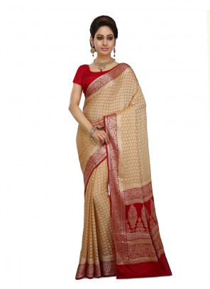 Weaving Art Banarasi Silk Peach Designer Traditional Saree