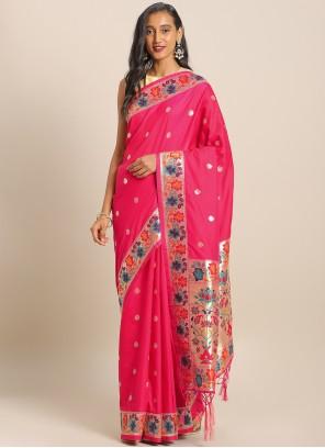 Weaving Art Banarasi Silk Saree in Maroon