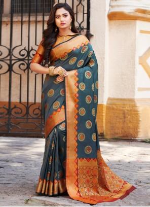 Teal Weaving Art Banarasi Silk Traditional Saree