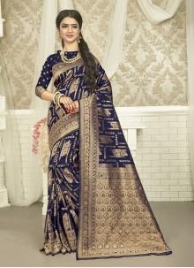 Weaving Art Silk Blue Saree
