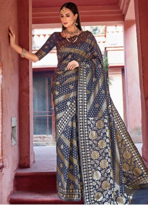 Weaving Art Silk Blue Traditional Saree