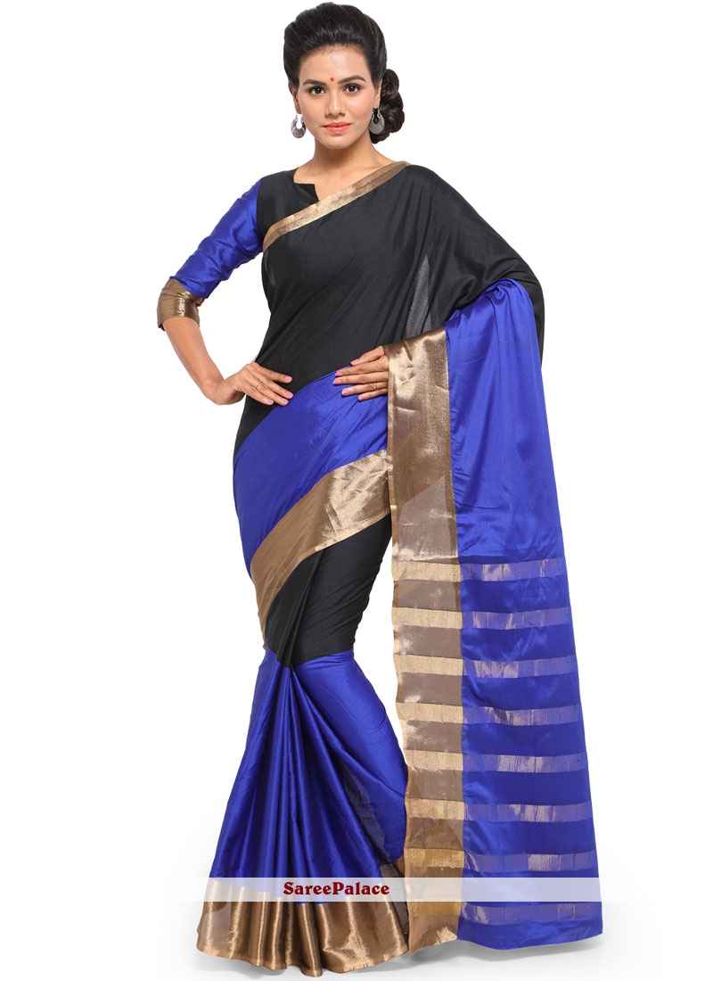 Weaving Art Silk Cotton Classic Saree in Black and Blue