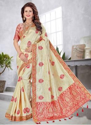 Weaving Art Silk Cream Traditional Saree
