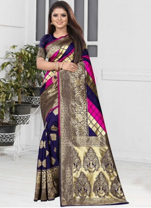 Weaving Art Silk Designer Half N Half Saree