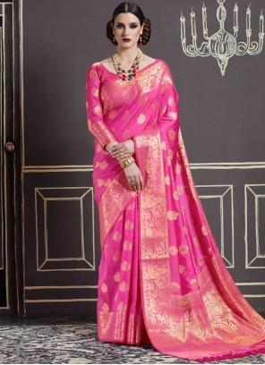 Weaving Art Silk Designer Traditional Saree in Hot Pink