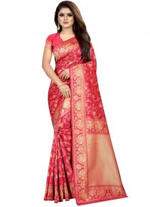 Weaving Art Silk Designer Traditional Saree in Pink