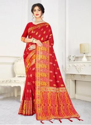 Weaving Art Silk Designer Traditional Saree in Red