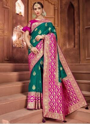 Weaving Art Silk Green Traditional Designer Saree
