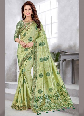 Weaving Art Silk Green Traditional Designer Saree