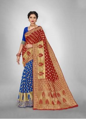Red And Blue Weaving Art Silk Half N Half  Saree