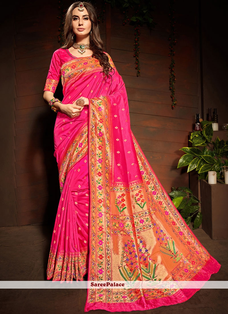 Weaving Art Silk Hot Pink Designer Saree