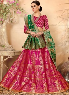 Weaving Art Silk Lehenga Choli in Hot Pink