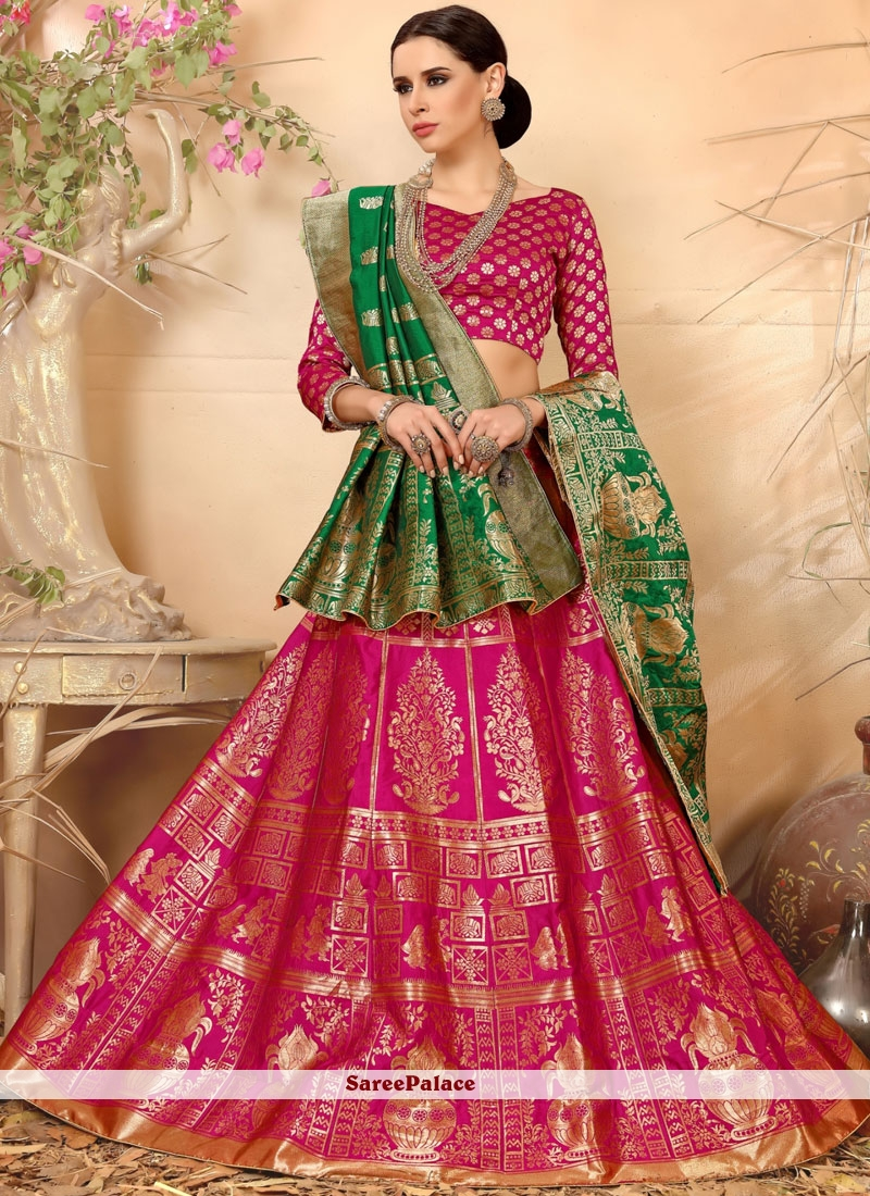 Weaving Art Silk Lehenga Choli in Hot Pink