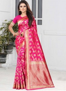 Weaving Art Silk Magenta Casual Saree