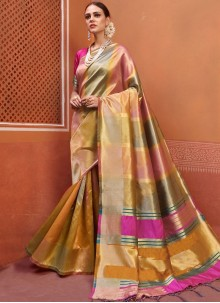 Weaving Art Silk Multi Colour Traditional Designer Saree
