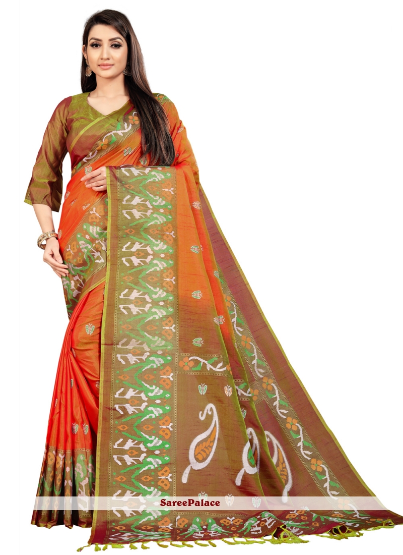 Weaving Art Silk Orange Designer Saree