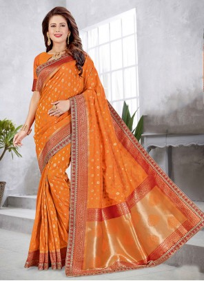 Weaving Art Silk Orange Traditional Designer Saree